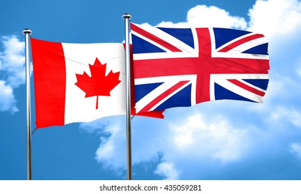 Canada flag with Great Britain flag, 3D rendering