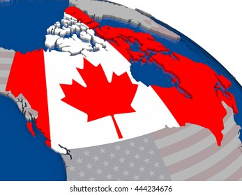 Canada with flag highlighted on model of globe. 3D illustration