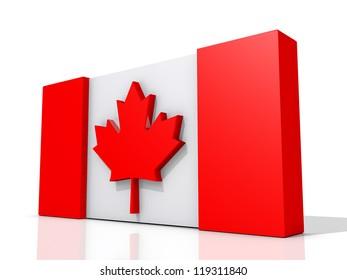 Canada Flag on a shiny white background.