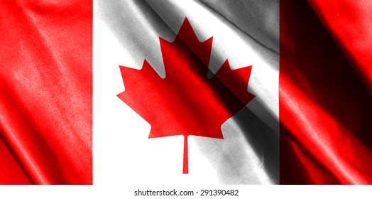 Canada flag on soft and smooth silk texture