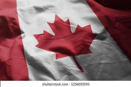 Canada Flag Rumpled Close Up