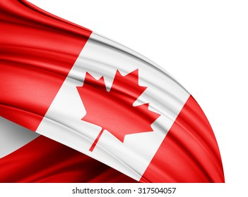 Canada  flag of silk with copyspace for your text or images and white background