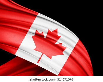 Canada flag of silk with copyspace for your text or images and black  background -3D illustration
