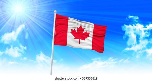 Canada Flag sky background
