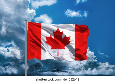 Canada flag with sky background