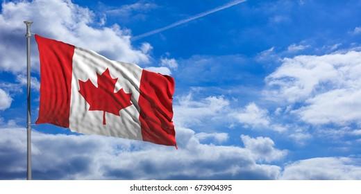 Canada flag waving on a blue sky background. 3d illustration