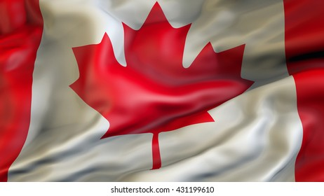Canada flag waving in the wind 3d rendering