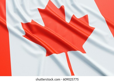Canada flag. Wavy fabric high detailed texture. 3d illustration rendering