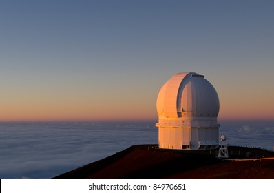 Canada France Hawaii Observatory on Mauna Kea at Sunset
