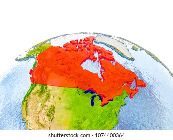 Canada highlighted in red on globe with realistic land surface, visible country borders and water in place of oceans. 3D illustration. Elements of this image furnished by NASA.