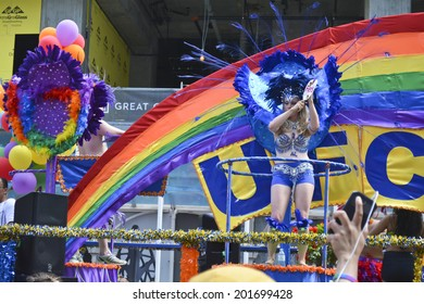 Canada, June 29: World Pride Parade 2014, Toronto, Ontario.  Estimated 12,000 people, LGBT and LGBTTIQQ2SA took part in the march, Parade to support gay rights.