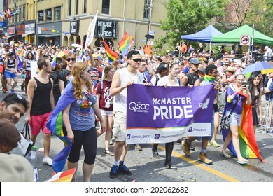 Canada, June 29: World Pride Parade 2014, Toronto, Ontario.  Estimated 12,000 people, LGBT and LGBTTIQQ2SA took part in the march, Parade to support gay and lesbian rights.