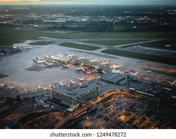 Canada, Montreal - 17. 09. 2018. Aerial view of Montreal airport with planes on airdrome in evening