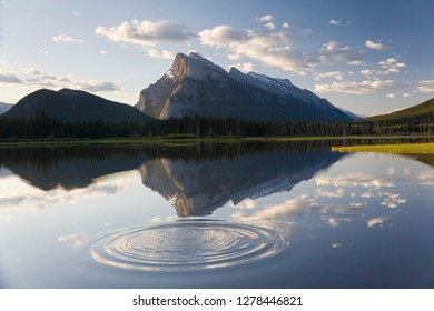 Canada, Mt Rundle, Vermillion Lake and ripple