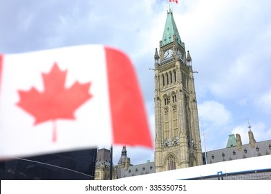Canada national flag and parliament
