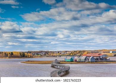 Canada, New Brunswick, Northumberland Strait, Bouctouche. Le Pays de la Sagouine, reconstructed waterfront Acadian historical village.