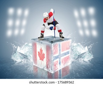 Canada - Norway game. Face-off player on the ice