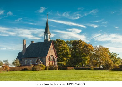 Canada, Nova Scotia, Annapolis Valley. Grand-Pre National Historic Site, site of the deportation of Canada's early French-Acadians by the English. Memorial church.