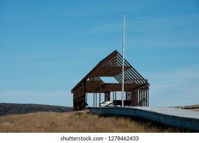 Canada, Nunavut, Qikiqtaaluk Region, Kekerten Island. Kekerten Historic Park preserves whaling artifacts. Scottish Station, c.1867. .
