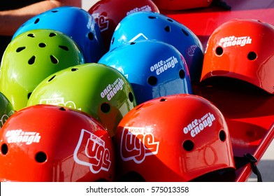 Canada Olympic Park, Calgaary, Alberta, Canada. Aug 25 2013. Colorful helmets found at the Canada Olympic Park for Luge fun.