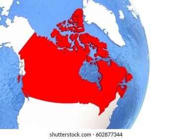 Canada on globe with realistic blue water and shiny metallic continents. 3D illustration