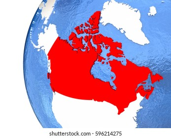 Canada on metallic globe with watery blue oceans. 3D illustration
