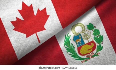 Canada and Peru two flags textile cloth, fabric texture