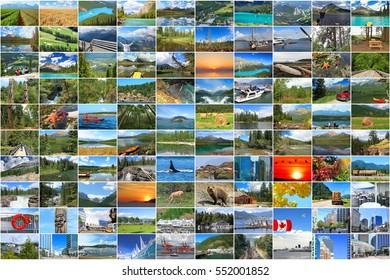 Canada Photo Collection Background. National Parks and Landscapes.Cityscape and Landmarks. Nature and National Symbols. Concept Travel and Tourism