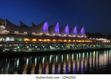 Canada Place at night, Vancouver, Canada