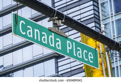 Canada Place street sign in Vancouver - VANCOUVER / CANADA - APRIL 12, 2017