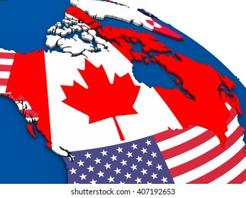 Canada - political map of Canada and surrounding region with each country represented by its national flag. 3D Illustration.