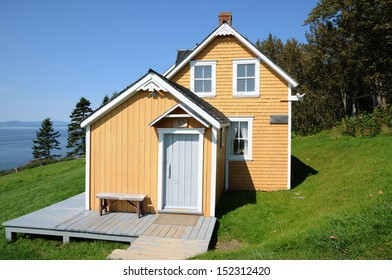 Canada, Quebec, old house in l Anse Blanchet in the Parc National du Forillon in Gaspesie