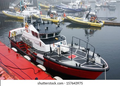 CANADA, QUEBEC, TADOUSSAC- AUGUST 8: Canadian coast guard vessel docked in Tadoussac, Quebec, Canada on August 8, 2013. The Canadian coast guard is responsible for 8 million km2 of water.