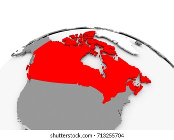 Canada in red on grey model of political globe. 3D illustration.