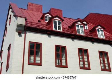 Canada, red roof house in Quebec