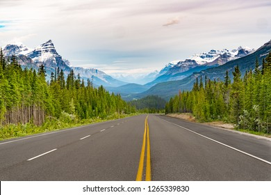 Canada Route 93 on the Icefields Parkway in Banff National Park, Alberta