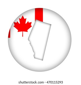 Canada state of Alberta map flag button isolated on a white background.