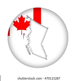 Canada state of British Columbia map flag button isolated on a white background.