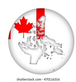 Canada state of Nunavut map flag button isolated on a white background.