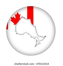 Canada state of Ontario map flag button isolated on a white background.