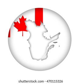 Canada state of Quebec map flag button isolated on a white background.