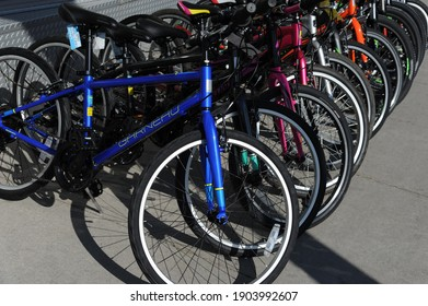 Canada Toronto Aug.13 2018  Selective focus Bicycle shop rows of new bikes cycle sport store