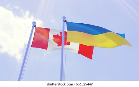 Canada and Ukraine, two flags waving against blue sky. 3d image
