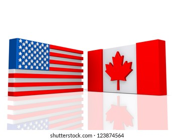 Canada and United States of America Flags on a shiny white background.