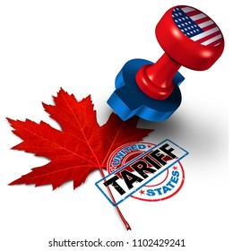 Canada United States tariff on canadian steel and aluminum tariffs as a stamp on a maple leaf as an economic trade taxation NAFTA dispute over import and exports concept with 3D illustration elements.