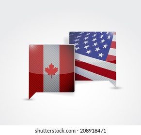 canada and us communication illustration design over a white background