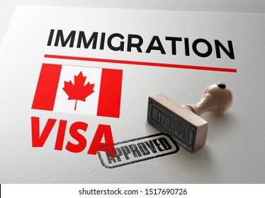 Canada Visa Approved with Rubber Stamp and Canadian flag