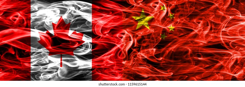 Canada vs China smoke flags placed side by side. Canadian and China flag together