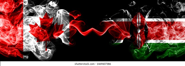 Canada vs Kenya, Kenyan smoky mystic flags placed side by side. Thick colored silky smoke flags of Canadian and Kenya, Kenyan