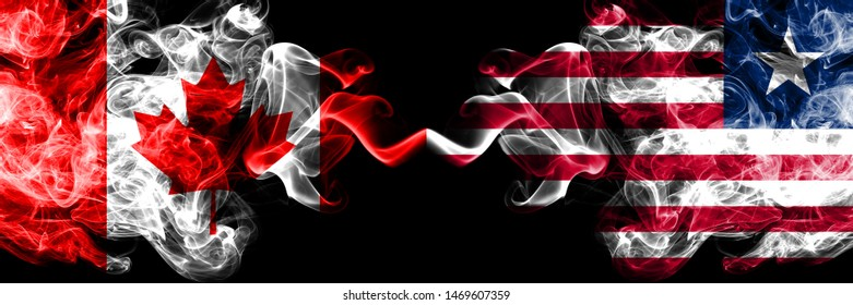 Canada vs Liberia, Liberian smoky mystic flags placed side by side. Thick colored silky smoke flags of Canadian and Liberia, Liberian
